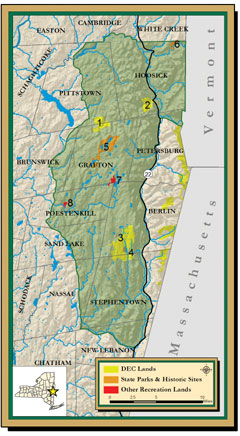 A map of the Rensselaer Plateau showing DEC, State and other recreation lands