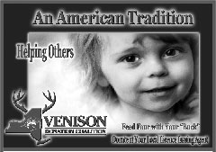 An ad for the Venison Donation Coalition