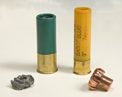 A lead slug and a copper slug with used bullets