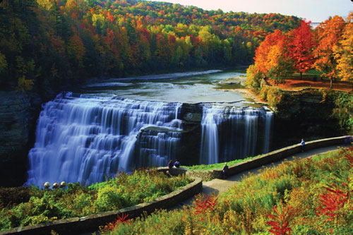 A view of one of the larger waterfalls, surrounded by fall foliage