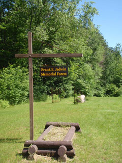 An entrance sign at the Jadwin Memorial Forest