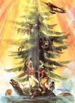 A painting of a great white pine on the back of a snapping turtle with animals around it and Native Americans standing at the base