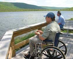 A fisherman enjoys universal access