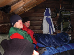 Winter campers in their sleeping bags