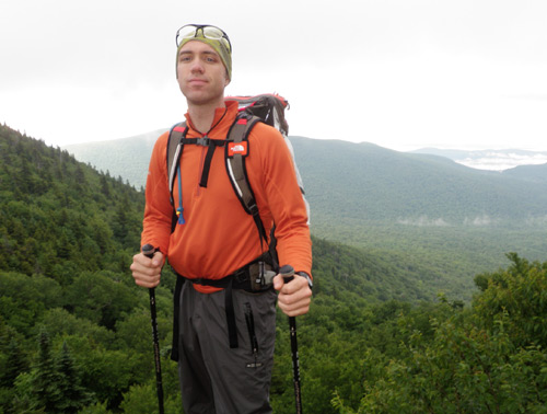 A backpacker on a trail in the Catskill Mountains