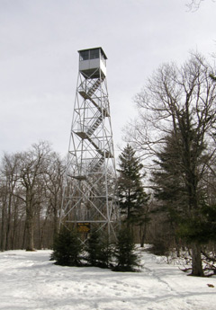 A fire tower in winter