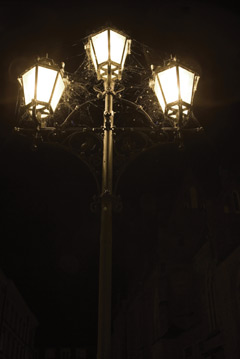 An old-fashioned street light with spider webs and bugs on it at night