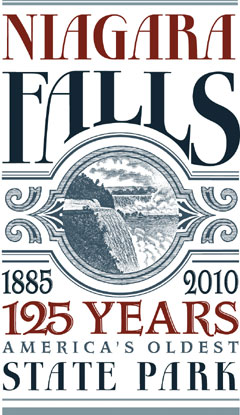 A poster celebrating Niagara Falls State Park's 125th anniversary