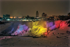 colored illumination of American Falls