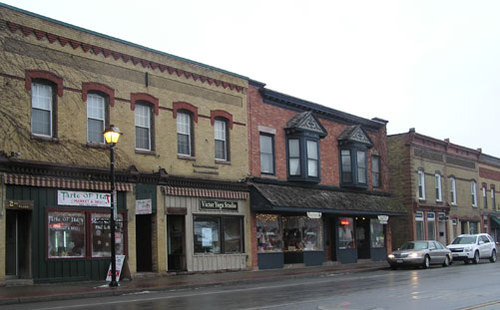 Two-story commercial buildings along a main street