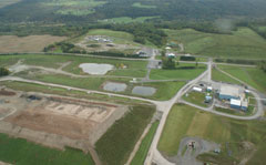 Aerial view of a landfill and associated buildings