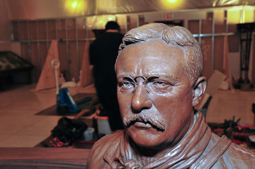 The head of a bronze statue of Theodore Roosevelt