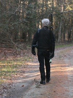 A person carrying cameras on a walk through the woods