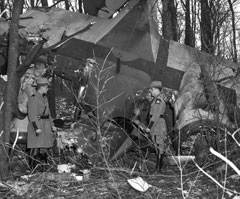 Two men stand on either side of a plane crash