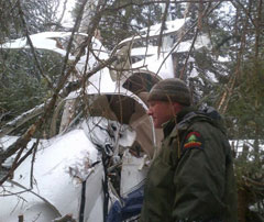 Forest ranger by the wreckage of a crashed plane