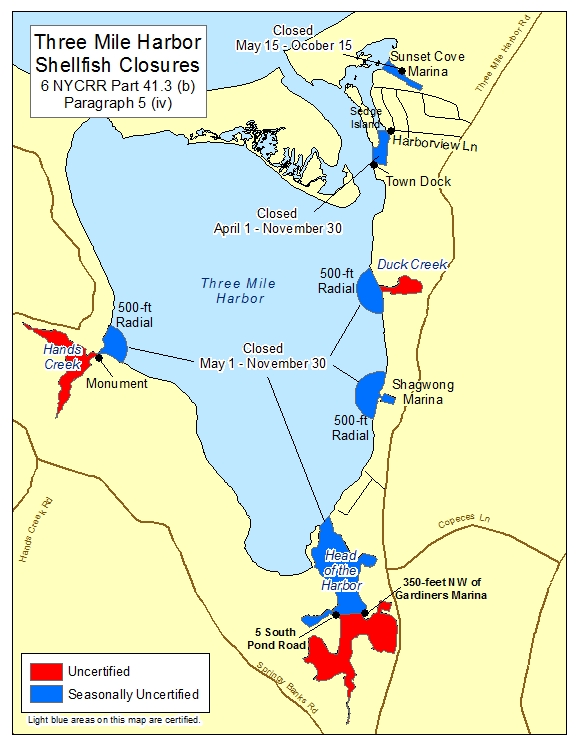 an image of Three Mile Harbor Shellfish Closures