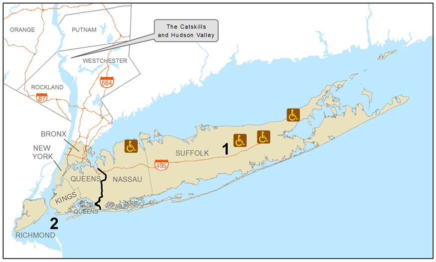 Map Of Long Island New York New York City and Long Island Accessible Recreation Map   NYS Dept