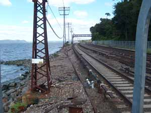 Railroad tracks running very close to the Hudson River