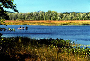 View of Ausable Marsh with paddlers