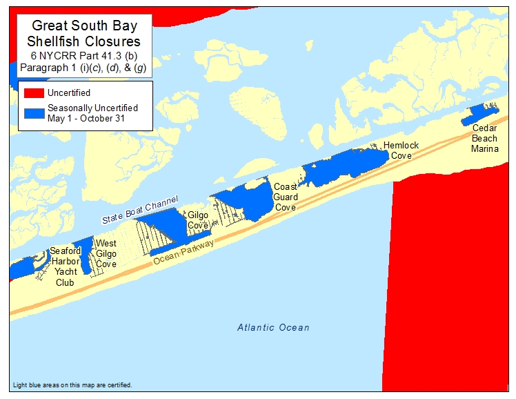 an image of Gilgo Beach Marina Shellfish Closures
