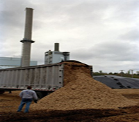 truck dumping biomass outside gasifier with tall chimmney