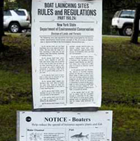 Boat launching sites rules and regulations sign