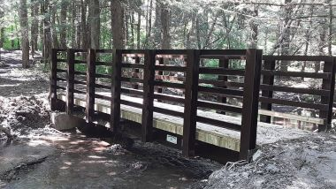 bridge over small flowing creek