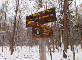 Trail indicator signs at Buck Mountain