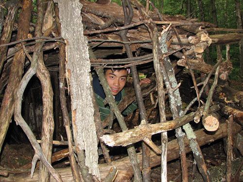 student in wildlife shelter