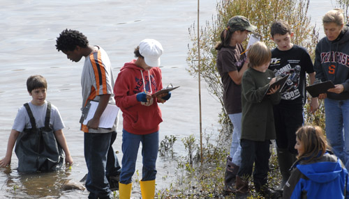 students collecting data on Hudson River
