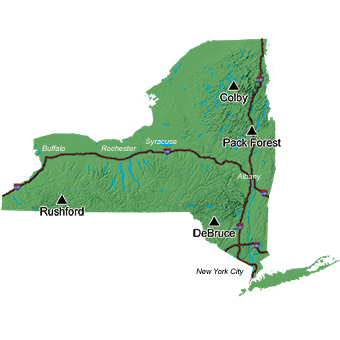 Map of New York State showing the location of the camps