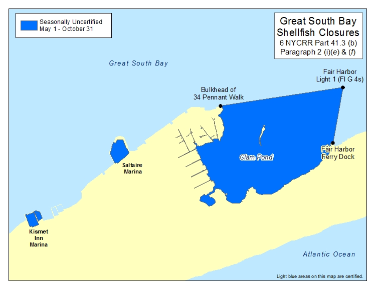 an image of Great South Bay Islip Shellfish Closures - Clam Pond
