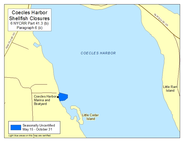 an image of Coecles Harbor Shellfish Closures