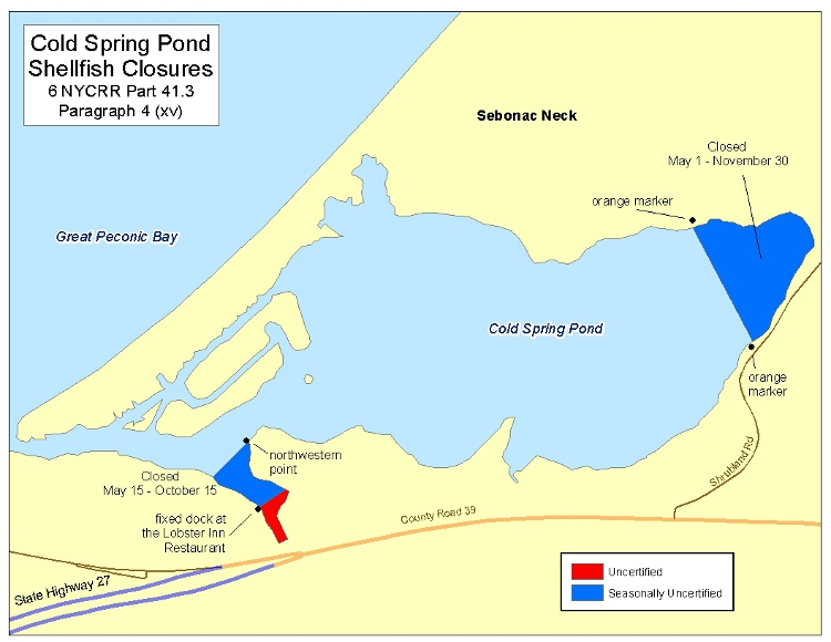 an image of Cold Spring Pond Shellfish Closures