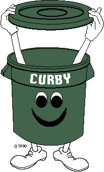 A drawing of Curby the recycling can, the mascot of the Town of Brookhaven