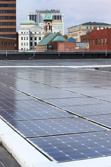 Solar panels on roof in Albany