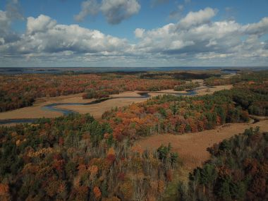aerial view of river surrounded by fall foliage