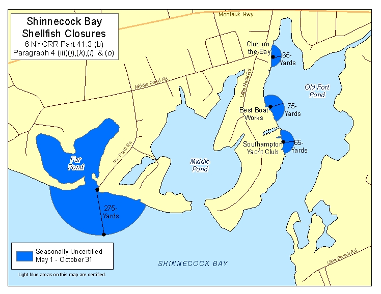 an image of Eastern Shinnecock Bay Shellfish Closures