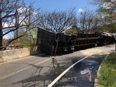 Over-turned truck on ramp