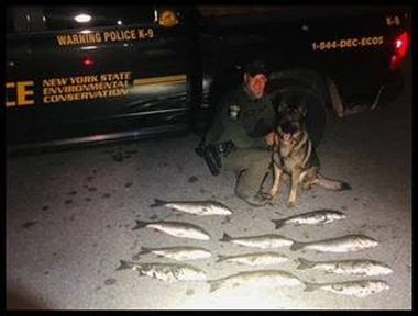 ECO and K9 pose for photo with bass on ground in front of them