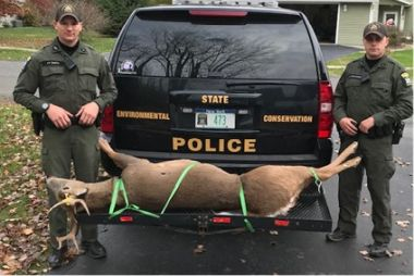 Two ECOs at back of their vehicle with the confiscated buck