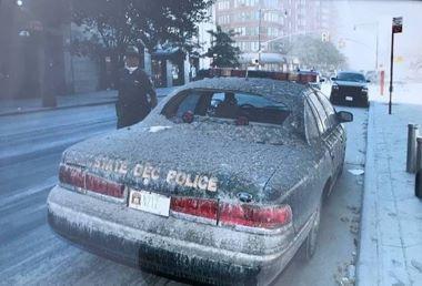 State DEC Police car in lower Manhatten on Sept. 11, 2001