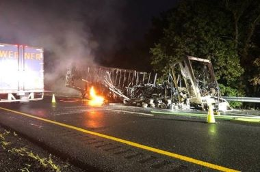 Trailer in flames on the highway