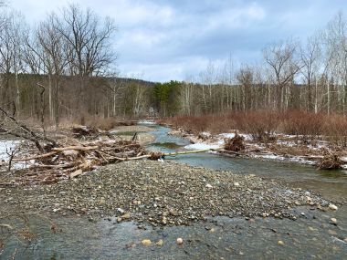 six mile creek with property in the background
