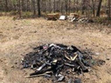 burned debris in the woods