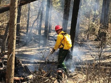 Forest Ranger helps extinguish fire in the woods
