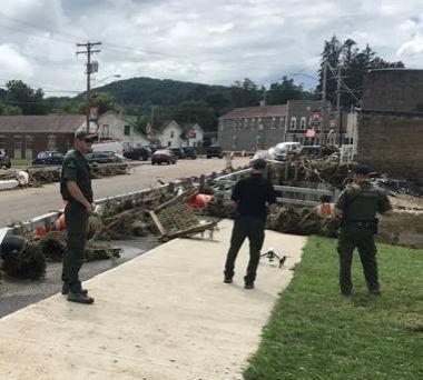 Forest Rangers inspecting flood damage in road near bridge