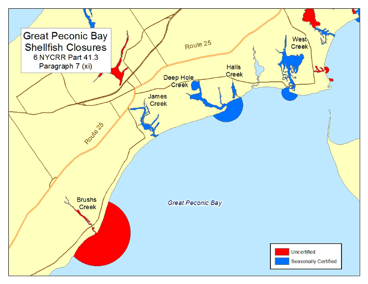 map of Great Peconic Bay shellfish closures, part 41.3 paragraph 7 (xi)