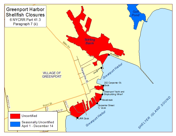 Greenport Harbor shellfish closures per Part 41.3 paragaph 7(ii)
