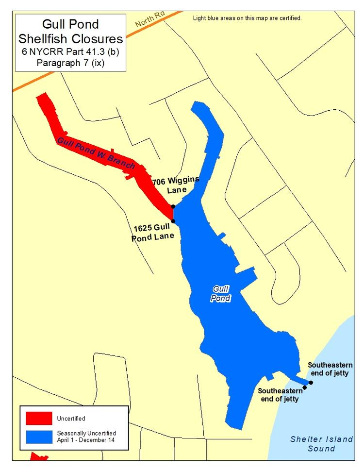 map of Gull Pond shellfish closures, Part 41.3 paragraph 7 (ix)
